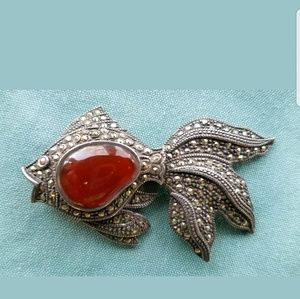 Jewelry - VINTAGE Articulated Sterling Silver Koi Brooch